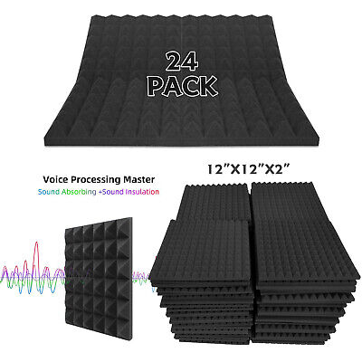 """24 Pack Acoustic Foam Panel 2""""X12""""X12"""" Studio Soundproofing Egg Crate Wall Tiles"""