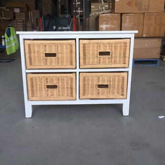 Mango wood 4 Drawer Wide cabinet with small scrach Lidcombe Auburn Area Preview