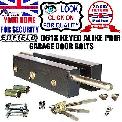 GARAGE DOOR BOLTS LOCK Security Enfield D613  One Pair Keyed Alike With 3 Keys