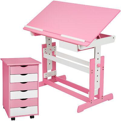 Kinderschreibtisch mit Rollcontainer Schreibtisch neig- & höhenverstellbar rosa