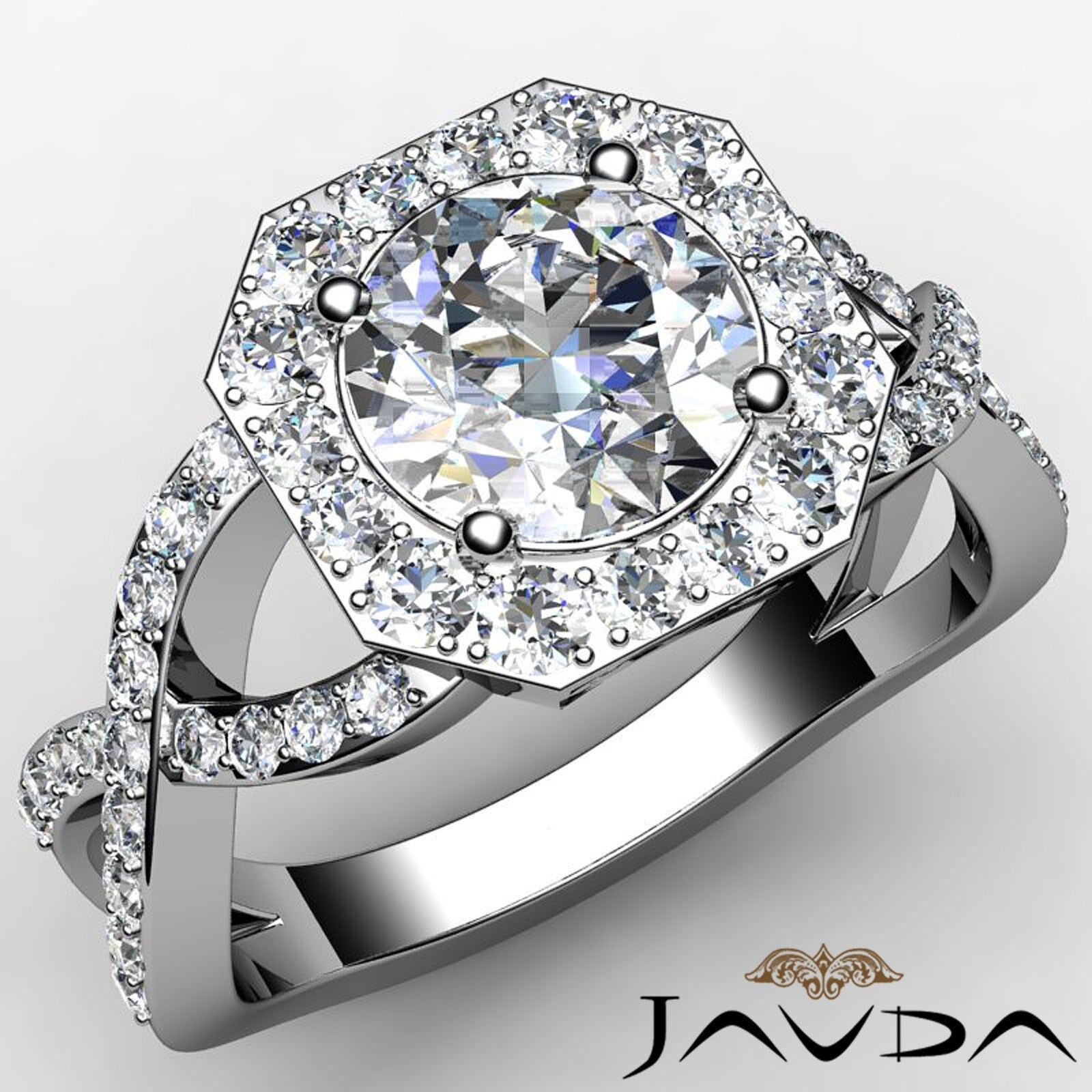 Hexagon Style Halo Round Diamond Engagement Cross Shank Ring GIA F VS1 2.13 Ct