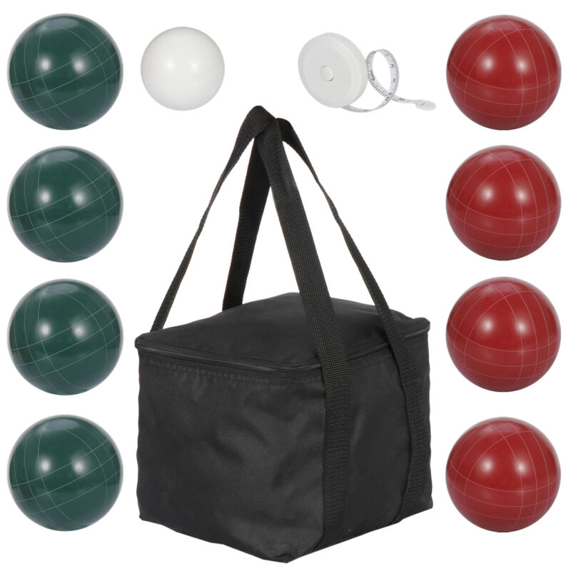 100mm Bocce Ball Set Outdoor Family with 4 Red 4 Green Balls 1 white pallino