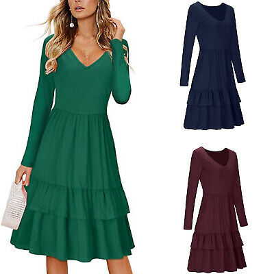 V Neck Long Sleeve Dress Slim A Line Dress Knee Length Party Fashion Women S -XL