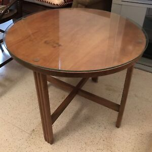 Antique Glass-Top Occasional Table