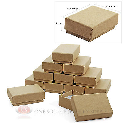 12 Kraft Cotton Filled Jewelry Gift Boxes 1 78 X 1 14 Charm Ring Pendant Box