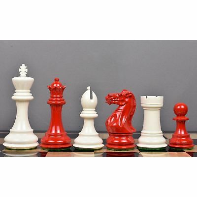 Club Staunton chess pieces set Weighted painted boxwood king 3.75