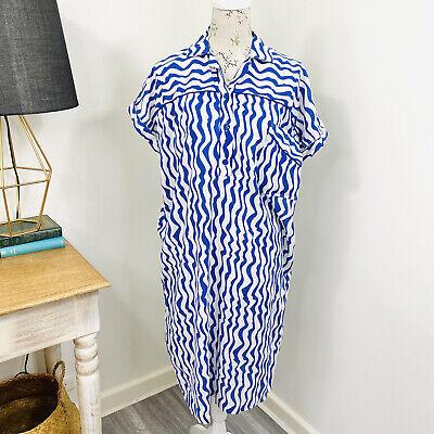80s Dresses | Casual to Party Dresses Vintage 80s My Garment Co Shirt Dress Blue White Cotton Unique Quirky Size 18 $34.75 AT vintagedancer.com