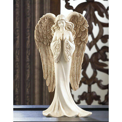 """ANGELS: Faithful Praying Angel In Flowing Gown Figurine 8"""" Tall Statue NEW"""