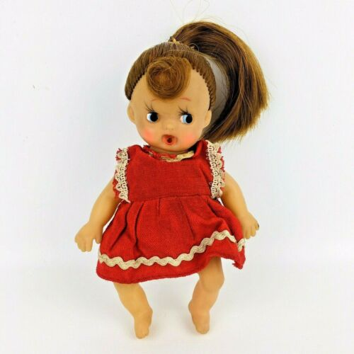 """Vintage Rubber Drink & Wet Doll Poses Ponytail 5"""" Tall Japan"""