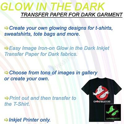 Printable Glow In The Dark Heat Transfer Paper For Inkjet Print Dark T-shirt 5sh