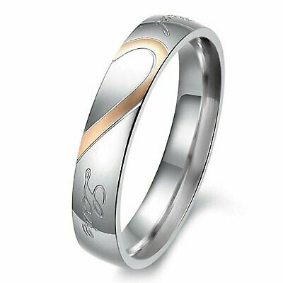 """Stainless Steel """" Real Love """" Heart Couples Promise Engagement Ring Wedding Band Fashion Jewelry"""