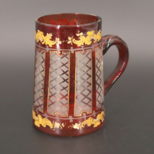 Antique Vien Glass Beer or Mead Mug  Cup Hand Polished & Painted C 19th Century