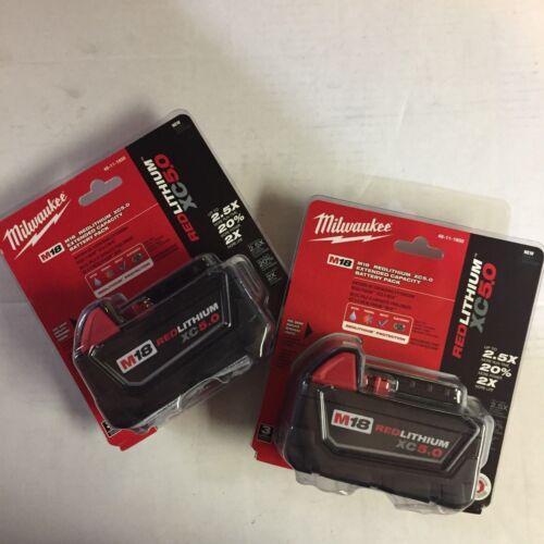 Genuine Milwaukee M18 XC 5 amp 18V Red Lithium Battery (X2) 48-11-1850 NEW