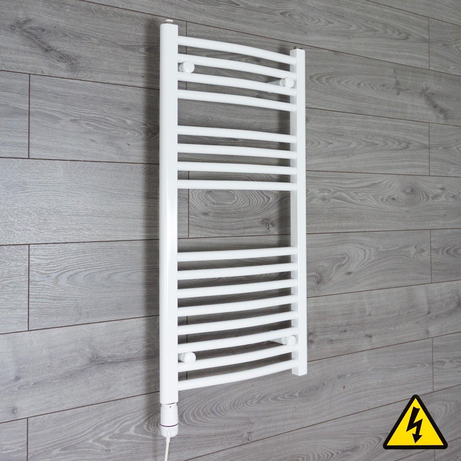 White Electric Towel Rail Radiator Pre Filled Thermostatic Radiator Bathroom Htr Ebay