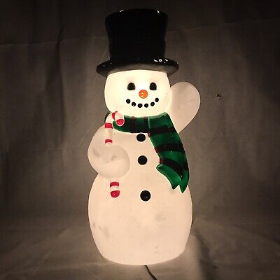 Vintage Blow Mold Snowman Christmas Light Up Lighted Winter Snow Hat Candy Cane