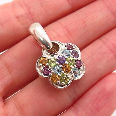 925 Sterling Silver Real Multi-Color Gemstone Floral Design -