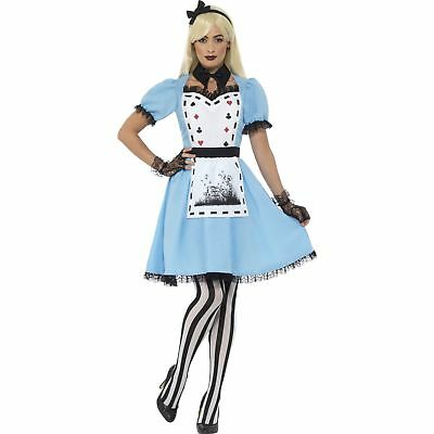 Deluxe Dark Tea Party Blue Alice Wonderland Womens Ladies Fancy Dress Costume