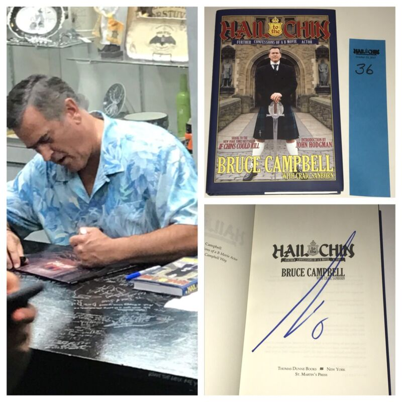 BRUCE CAMPBELL Hand Signed HAIL TO THE CHINS Autograph Book PROOF Evil Dead