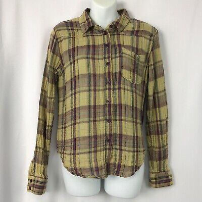 Free People FP Gauze Plaid Button Down Shirt Small Tan Burgundy