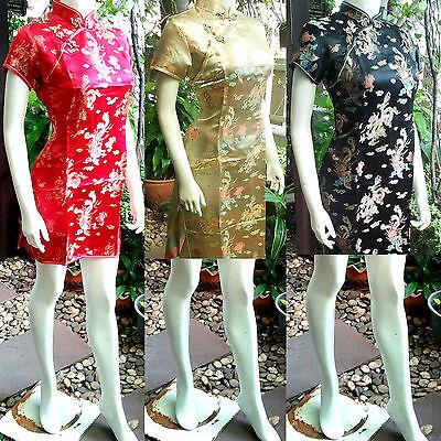 Asia-Miss China Geisha Qipao/Cheongsam Mini-Kleid/Kostüm Rot/Gold - Geisha Kleid Rot Kostüm