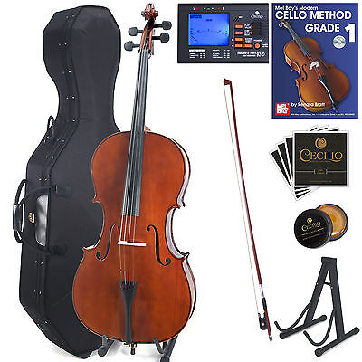 Cecilio Size 4/4 3/4 1/2 1/4 Solid Wood Cello +Hard & Soft Case+Tuner ~CCO-200