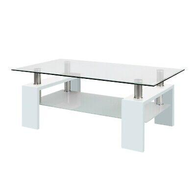 Mesa de centro cristal y lacada en Blanco Brillo, mesas salon, missouri