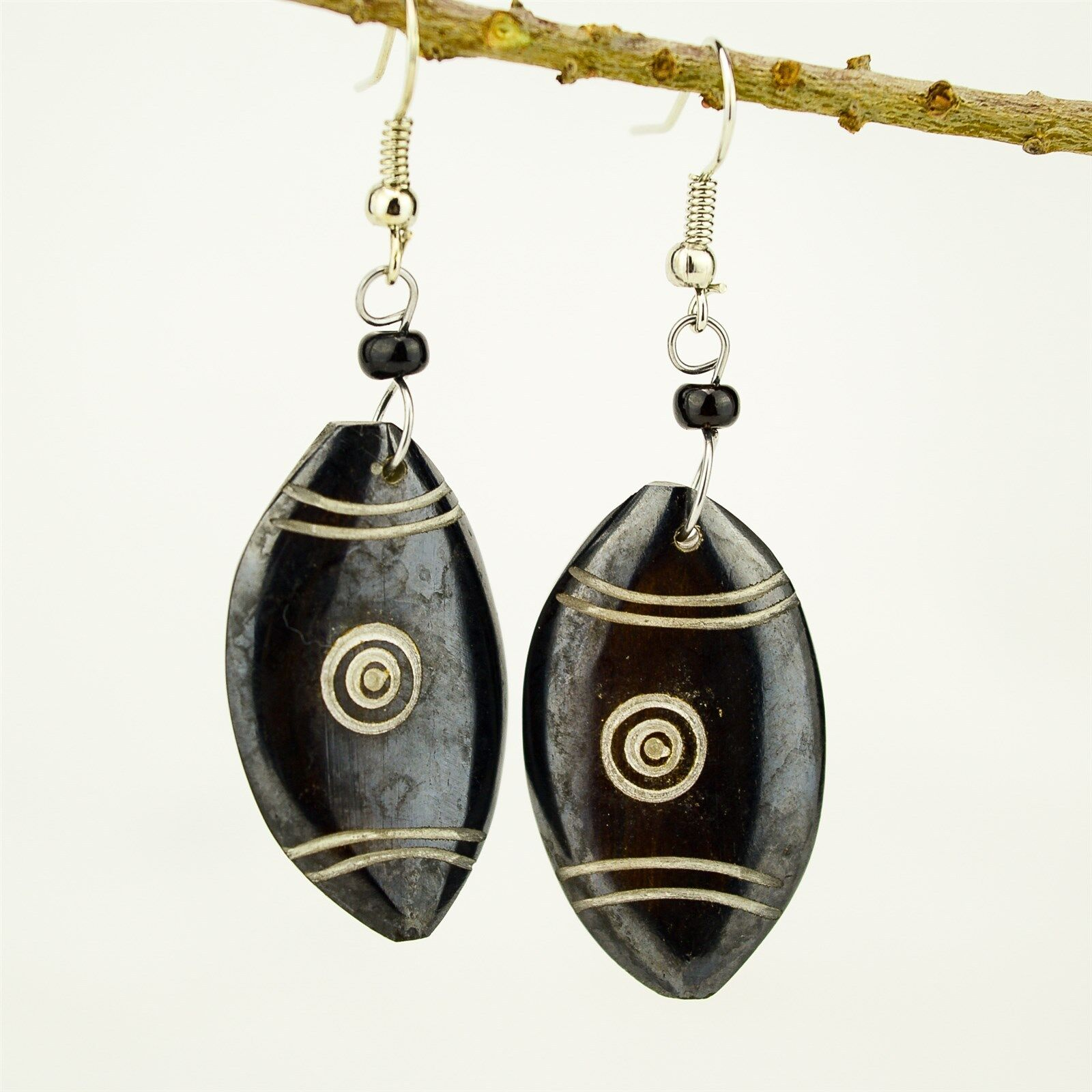Details about Handmade African Jewelry Maasai Shield Shaped Brown Bone  earrings 487-134