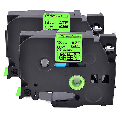 2pk Fits Brother P-touch Tz-d41 Tze-d41 Black On Fluo Green Label Tape 0.7