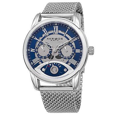New Men's Akribos XXIV AK846SSBU Silver-tone Retrograde Mesh Bracelet Watch