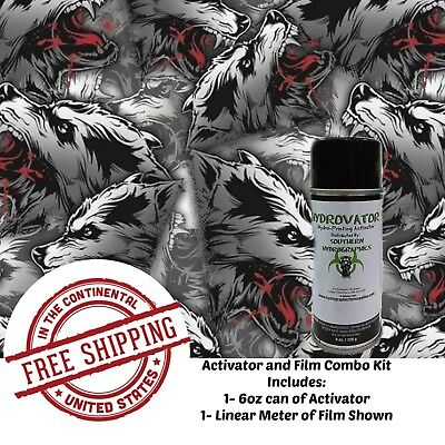 Hydrographic Water Transfer Hydro Dip 6 Oz Activator 1m White Wolf Film Kit