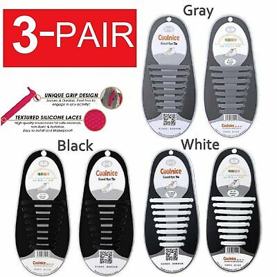 3-Pairs Easy No Tie Shoelaces Elastic Silicone Flat Lazy Shoe Lace Strings Adult Clothing & Shoe Care