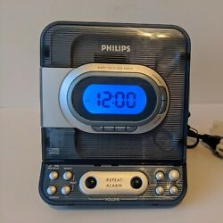 Philips CD Clock Radio Model AJ3977 Blue Pre-Owned Tested & Works Beautifully