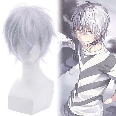 Mens White Wigs (Accelerator Zero Kiryuu Cosplay Wig Silver Gray White Short Straight Mens)