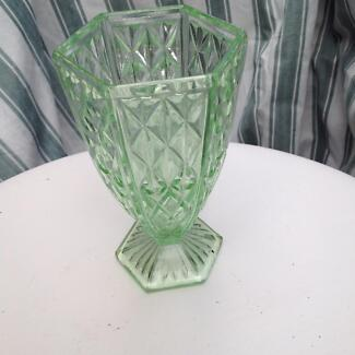 Vintage Green Glass Flower Vase