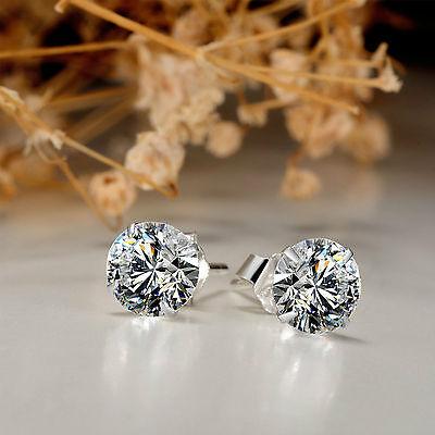 6mm Ohrring Ohrstecker Ohrringe Ohrschmuck mit Zirkonia & 925 Silber für Damen