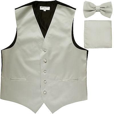 New Men's Silver formal vest Tuxedo Waistcoat_bowtie & hankie set wedding prom](Silver Vest)
