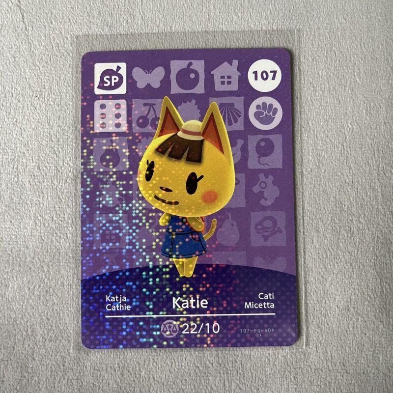 Katie # 107 Animal Crossing Amiibo Card  Nintendo AUTHENTIC Series 2