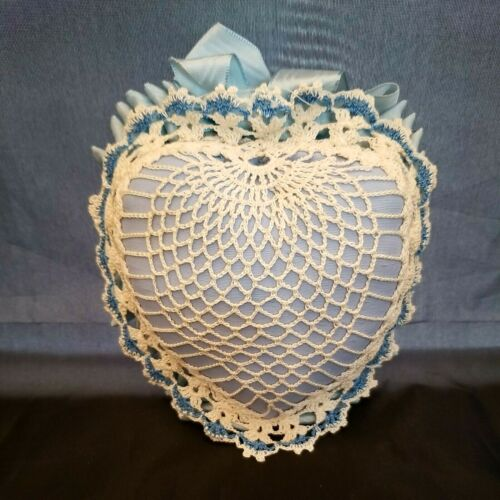 """Vintage Blue and White Crocheted Heart-Shaped Pin Cushion - 5 1/2""""x5 1/2""""x 2"""""""