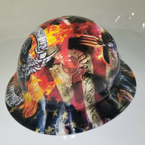 NEW FULL BRIM Hard Hat custom hydro dipped in , FIREFIGHTER FIRST IN , LAST OUT 2