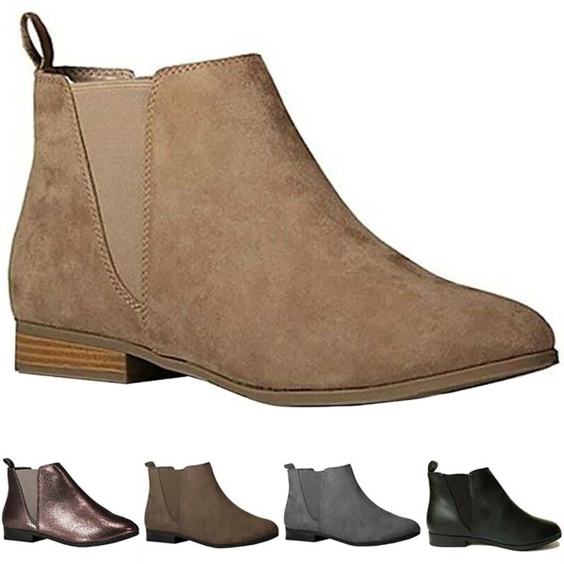 Winter Women Suede Flat Ankle Boots Casual Slip On Booties L