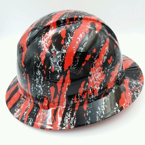 New Custom pyramex (Full Brim) Hard Hat HYDRO DIPPED IN RED URBAN CAMO FILM 2 1