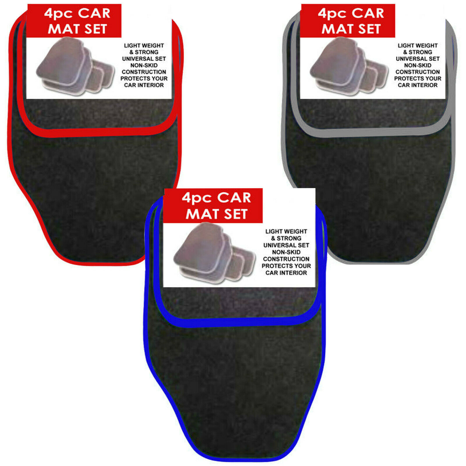 Car Parts - UNIVERSAL 4 PIECE FRONT AND REAR CAR VAN FLOOR MATS RUBBER BACKED CARPET