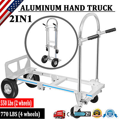 New Zbond 2 In 1 Aluminum Hand Truck Dolly Utility Cart Heavy Duty 770lbs