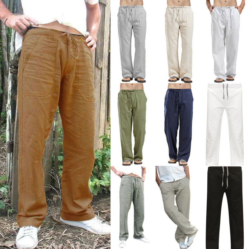Mens Cotton Linen Loose Pants Casual Beach Drawstring Trouse