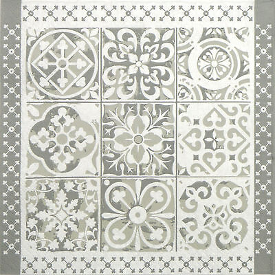 4x Single Table Party Paper Napkins for Decoupage Grey Shapes