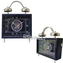 Nautical Black finish Desk Wood Table Clock Decor Hotel & Room Decoration