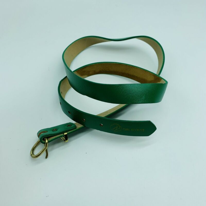 """Vintage Girl Scout Uniform Belt Leather Green 34"""""""