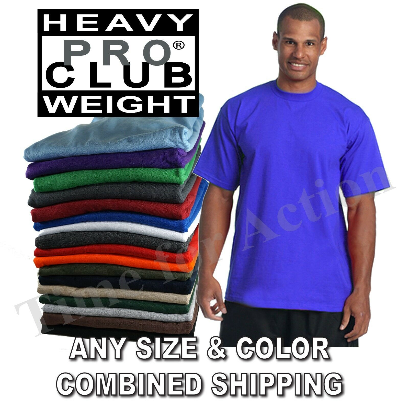 Изображение товара Pro Club Heavy Weight Short Sleeve Plain Basic Tall or Reg T-shirts Tee S-7XL
