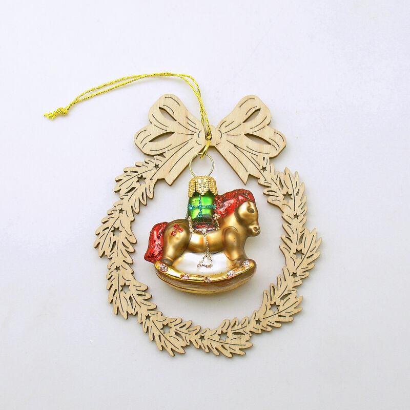 Christmas Ornament Glass Rocking Horse Erzgebirge