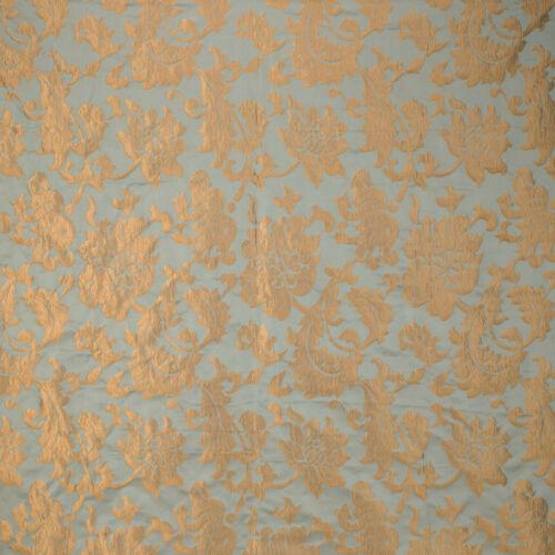 KRAVET BEAUITUL  BLUE GOLD BRONZE FLORAL DAMASK UPHOLSTERY FABRIC 3YARDS